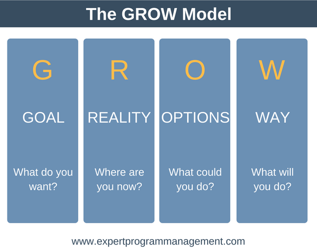 The grow model expert program management for Grow coaching template