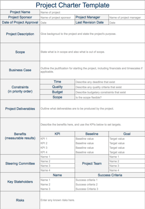 Example of project charter project charter example for Software project charter template