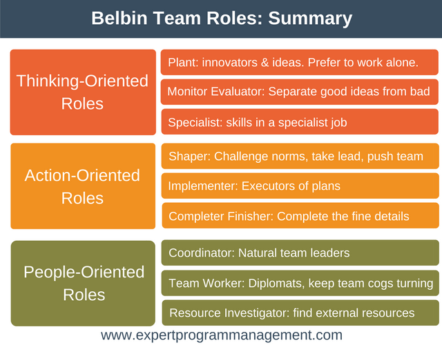 belbins roles Over the course of years, belbin defined nine possible team roles, which he categorized into three groups: action-oriented roles action oriented roles focus on improving team's performance, putting ideas into action, and meeting deadlines.