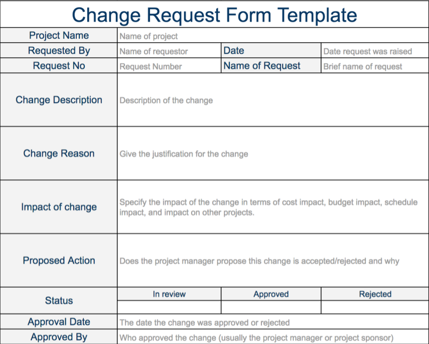 Change Request Template Expert Program Management