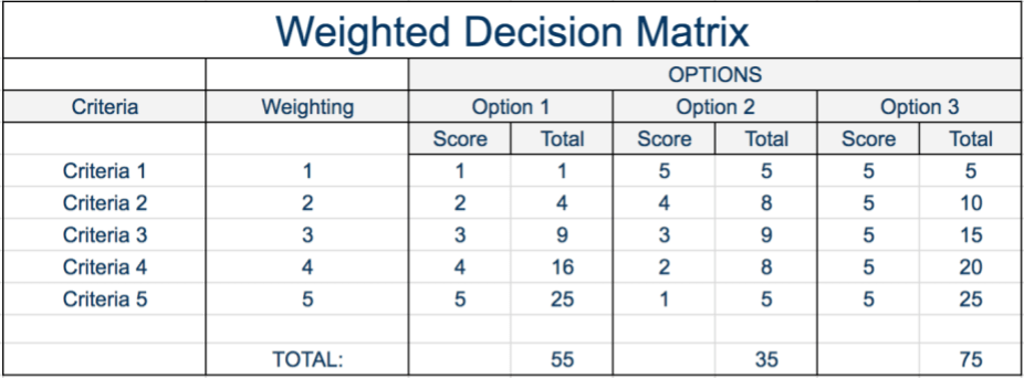 Example Weighted Decision Matrix